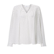 Buy John Lewis Silk Laura Dot Print Top, Cream Online at johnlewis.com