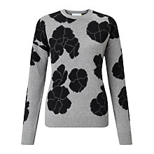 Buy Collection WEEKEND by John Lewis Large Flower Intarsia Jumper, Grey/Black Online at johnlewis.com