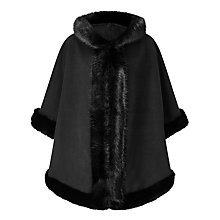 Buy John Lewis Maria Hooded Faux Fur Trim Cape, Black Online at johnlewis.com