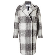 Buy John Lewis Check Cocoon Coat, Grey Online at johnlewis.com