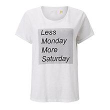 Buy Collection WEEKEND by John Lewis Less Monday T-Shirt, White Online at johnlewis.com