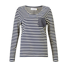 Buy Collection WEEKEND by John Lewis Stripe T-Shirt With Chambray Pocket, White/Blue Online at johnlewis.com