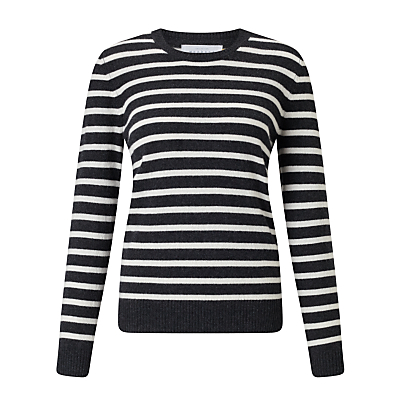 Collection WEEKEND by John Lewis Luxury Cashmere Stripe Jumper, Black/White