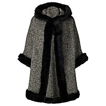 Buy John Lewis Maria Textured Hooded Faux Fur Trim Cape, Black/Grey Online at johnlewis.com