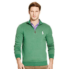 Buy Polo Golf by Ralph Lauren Half Zip Sweatshirt, Green Heather Online at johnlewis.com