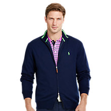 Buy Polo Golf by Ralph Lauren Windblock Lining Full Zip Jumper, French Navy Online at johnlewis.com
