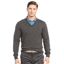 Buy Polo Golf by Ralph Lauren Long Sleeve Merino V-Neck, Squire Heather Online at johnlewis.com