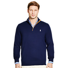 Buy Polo Golf by Ralph Lauren Zip-Neck Long Sleeve Jumper, French Navy Online at johnlewis.com