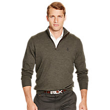 Buy Polo Golf by Ralph Lauren Long Sleeve Half Zip Merino Pullover, Heather Squire Online at johnlewis.com