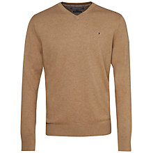 Buy Tommy Hilfiger Pima Cotton Cashmere V-Neck Jumper, Tigers Eye Heather/Snow White Online at johnlewis.com