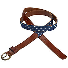 Buy Fat Face Spot And Leather Belt, Blue Online at johnlewis.com
