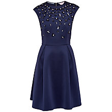 Buy Ted Baker Yadara Floral Embellished Skater Dress, Dark Blue Online at johnlewis.com