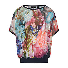 Buy Ted Baker Farligh Loose Fit Focus Bouquet Top, Dark Blue Online at johnlewis.com