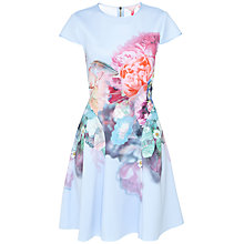 Buy Ted Baker Bowkay Focus Bouquet Skater Dress, Pale Blue Online at johnlewis.com