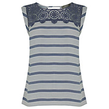 Buy Oasis Lace Trim Stripe Top, Multi Blue Online at johnlewis.com