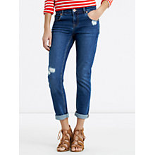 Buy Oasis Hollie Rip And Repair Boyfriend Jeans, Denim Online at johnlewis.com