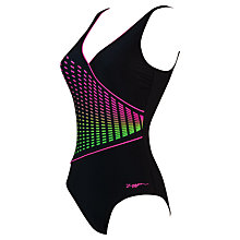 Buy Zoggs Class Diva Wrap Front Swimsuit, Black/Multi Online at johnlewis.com