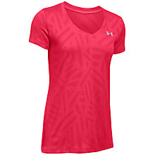 Buy Under Armour Tech V-Neck Jacquard Training Top, Pink Online at johnlewis.com