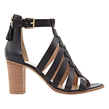 Buy Mint Velvet Hope Block Heeled Sandals, Black Leather Online at johnlewis.com