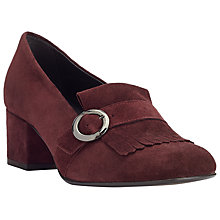 Buy John Lewis Astrid Buckle Fringe Block Heel Loafers, Burgundy Online at johnlewis.com