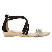 Buy Mint Velvet Kim Wedge Heeled Sandals, Black Online at johnlewis.com