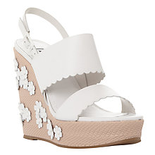 Buy Dune Kensington Flower Applique Wedge Sandals, White Online at johnlewis.com