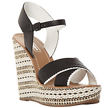 Buy Dune Khalo Aztec Wedge Sandals, Black Online at johnlewis.com
