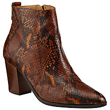 Buy Collection WEEKEND by John Lewis Pallas Block Heeled Ankle Boots, Snake Print Leather Online at johnlewis.com