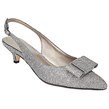 Buy John Lewis Dorchester Bow Slingback Court Shoes, Silver Online at johnlewis.com