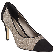 Buy John Lewis Blake Pointed Toe Court Shoes, Black/Gold Online at johnlewis.com
