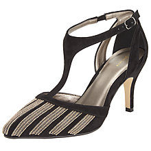 Buy John Lewis Dakota T-Bar Court Shoes, Black/Gold Online at johnlewis.com