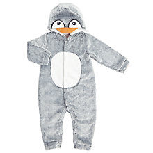 Buy John Lewis Baby Penguin Onesie, Grey Online at johnlewis.com