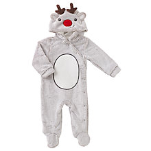 Buy John Lewis Baby Reindeer Onesie, Brown Online at johnlewis.com