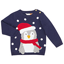 Buy John Lewis Baby Penguin Christmas Jumper, Navy Online at johnlewis.com