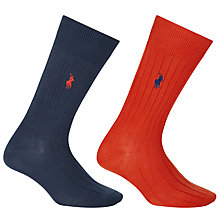 Buy Polo Ralph Lauren Solid Ribbed Egyptian Cotton Blend Socks, Pack of 2, Navy/Orange Online at johnlewis.com