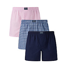 Buy Polo Ralph Lauren Woven Cotton Boxers, Pack of 3, Pink/Blue/Navy Online at johnlewis.com