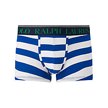 Buy Polo Ralph Lauren Stripe Stretch Cotton Trunks, Pacific Royal/White Online at johnlewis.com