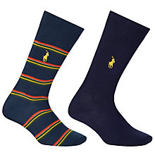 Buy Polo Ralph Lauren Egyptian Cotton Stripe and Plain Socks, Pack of 2, Navy Online at johnlewis.com