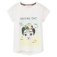 Buy Mango Kids Girls' Mexican Cat T-Shirt, White Online at johnlewis.com