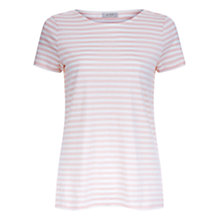 Buy Hobbs Rosie Stripe T-Shirt, Pink Ivory Online at johnlewis.com