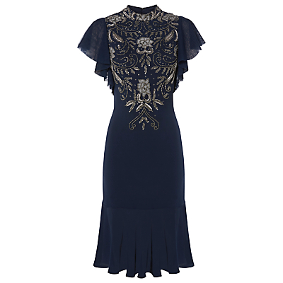 Raishma Angel Sleeve Embroidered Dress, Navy