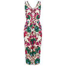Buy Warehouse Floral Print Wrap Dress, Neutral Online at johnlewis.com