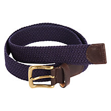 Buy Barbour Webbing Leather Trim Belt, Navy Online at johnlewis.com
