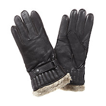 Buy Barbour Leather Utility Gloves, Brown Online at johnlewis.com