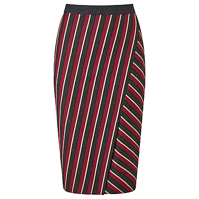 Weekend MaxMara Candore Stripe Skirt, Red/Dark Grey