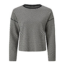 Buy Weekend MaxMara Andina Drop Shoulder Diamond Jacquard Jumper, Black/White Online at johnlewis.com