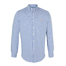 Buy Polo Ralph Lauren Gingham Oxford Sport Long Sleeve Shirt, Blue/White Online at johnlewis.com