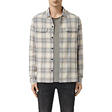 Buy AllSaints Halleck Long Sleeve Shirt, Light Grey Online at johnlewis.com