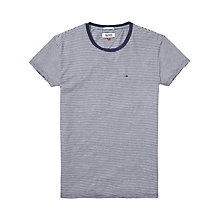 Buy Hilfiger Denim Stripe Crew Neck Cotton Knit T-Shirt, Mid Blue/Classic White Online at johnlewis.com