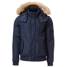 Buy Tommy Hilfiger Cotton-Blend Hooded Bomber Jacket, Black Iris Online at johnlewis.com